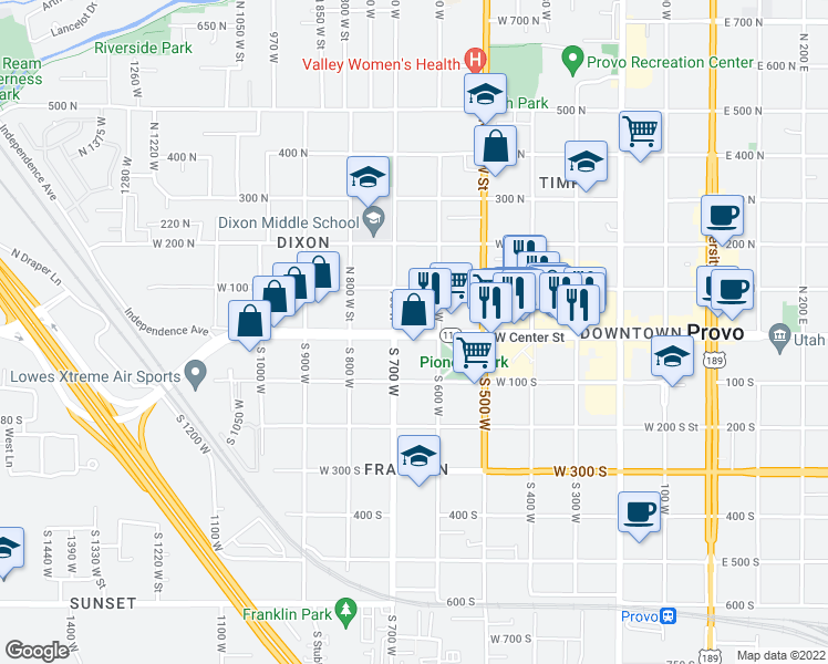 map of restaurants, bars, coffee shops, grocery stores, and more near 656 West Center Street in Provo