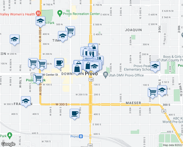 map of restaurants, bars, coffee shops, grocery stores, and more near in Provo