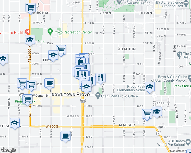 map of restaurants, bars, coffee shops, grocery stores, and more near 184 North 100 East Street in Provo