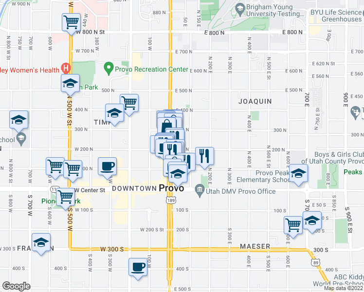 map of restaurants, bars, coffee shops, grocery stores, and more near 67 200 North in Provo