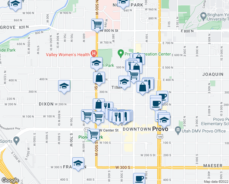 map of restaurants, bars, coffee shops, grocery stores, and more near 362 West 300 North in Provo