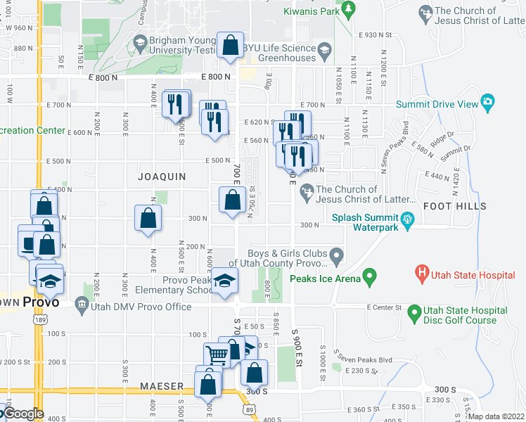 map of restaurants, bars, coffee shops, grocery stores, and more near 339 800 East in Provo