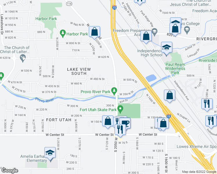 map of restaurants, bars, coffee shops, grocery stores, and more near 404 North 2150 West in Provo