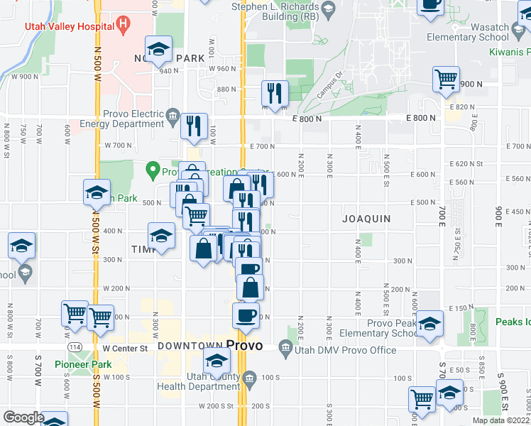 map of restaurants, bars, coffee shops, grocery stores, and more near 469 North 100 East Street in Provo
