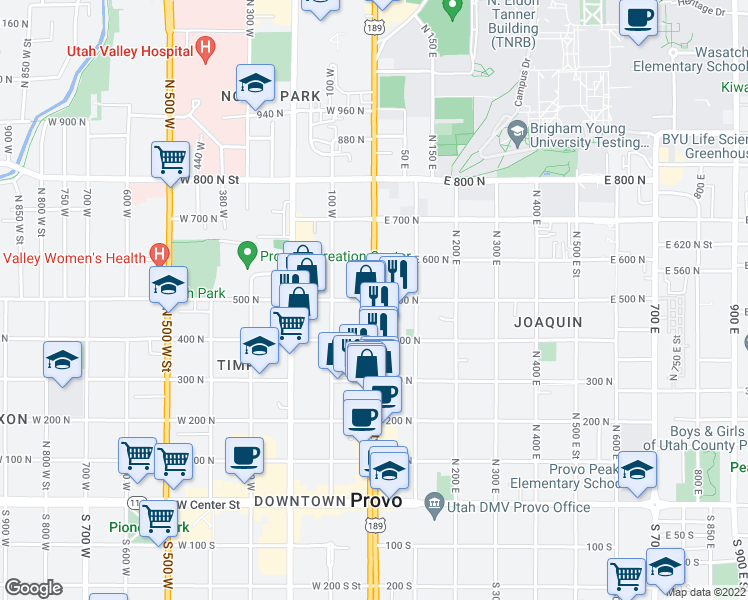 map of restaurants, bars, coffee shops, grocery stores, and more near 1 East 500 North in Provo
