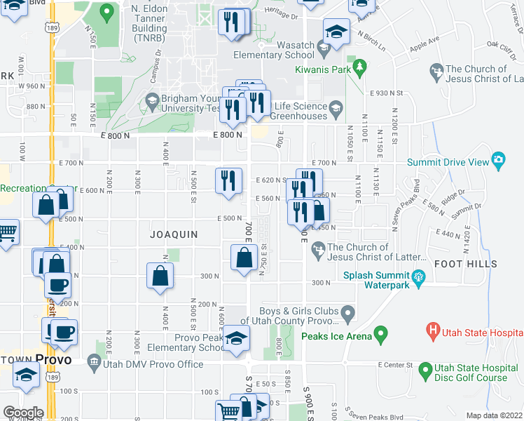 map of restaurants, bars, coffee shops, grocery stores, and more near 516 North 720 East in Provo