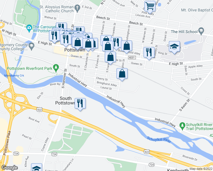 map of restaurants, bars, coffee shops, grocery stores, and more near 172 South Franklin Street in Pottstown