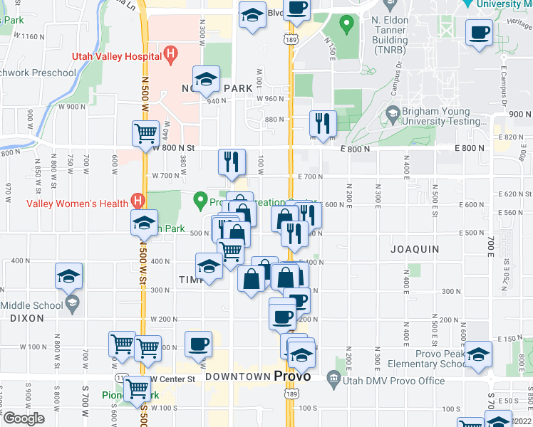 map of restaurants, bars, coffee shops, grocery stores, and more near 567 North University Avenue in Provo
