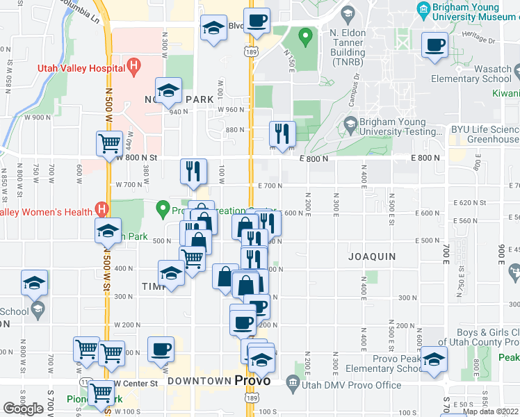 map of restaurants, bars, coffee shops, grocery stores, and more near 25 East 600 North in Provo