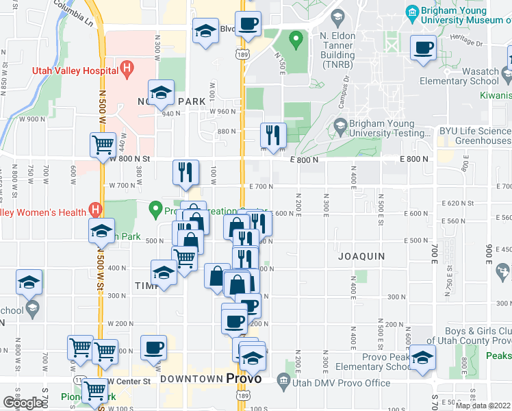 map of restaurants, bars, coffee shops, grocery stores, and more near 47 E 600 N in Provo