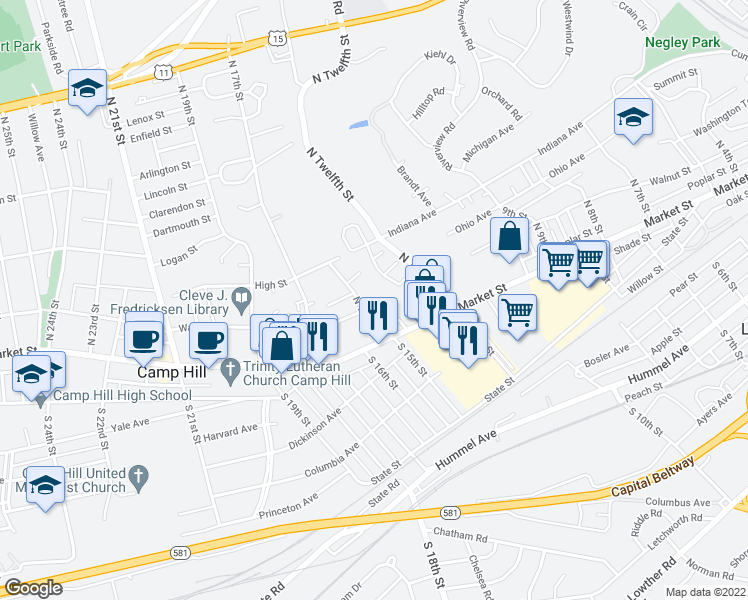 map of restaurants, bars, coffee shops, grocery stores, and more near 1404 Walnut Street in Camp Hill