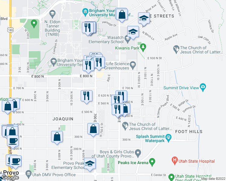 map of restaurants, bars, coffee shops, grocery stores, and more near 838 East 700 North in Provo