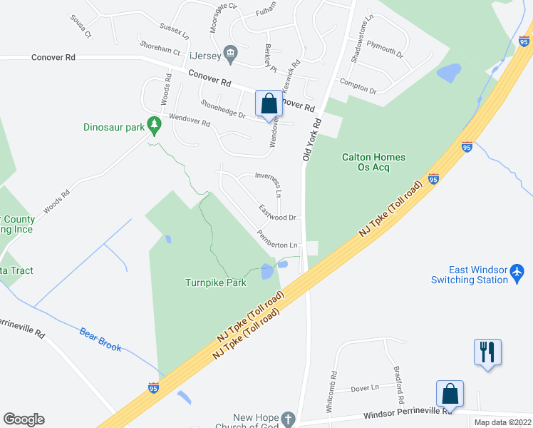 map of restaurants, bars, coffee shops, grocery stores, and more near Eastwood Drive in East Windsor