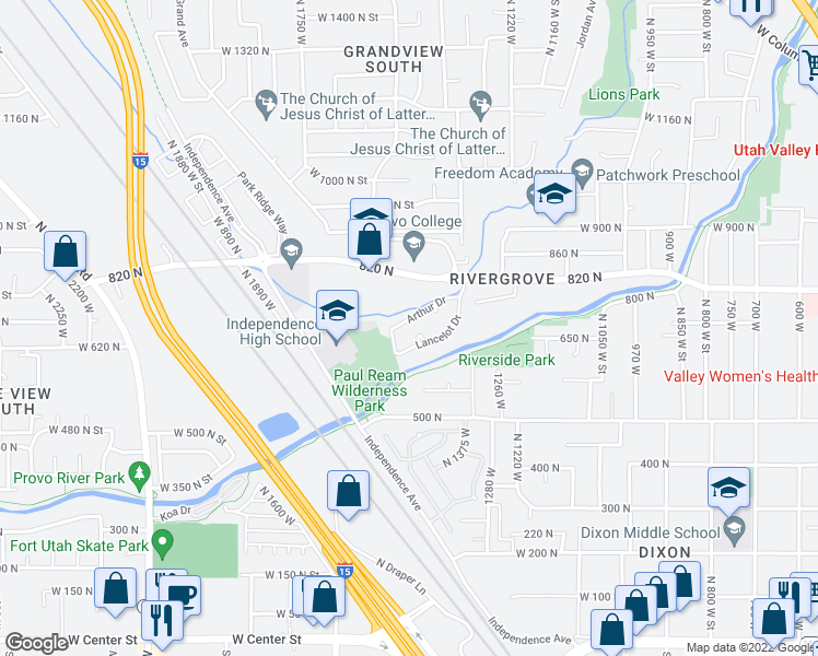 map of restaurants, bars, coffee shops, grocery stores, and more near 1483 Arthur Drive in Provo
