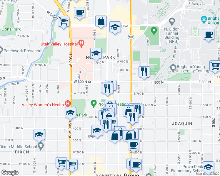 map of restaurants, bars, coffee shops, grocery stores, and more near 750 Freedom Boulevard 200 West in Provo