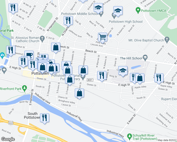 map of restaurants, bars, coffee shops, grocery stores, and more near 529 King Street in Pottstown
