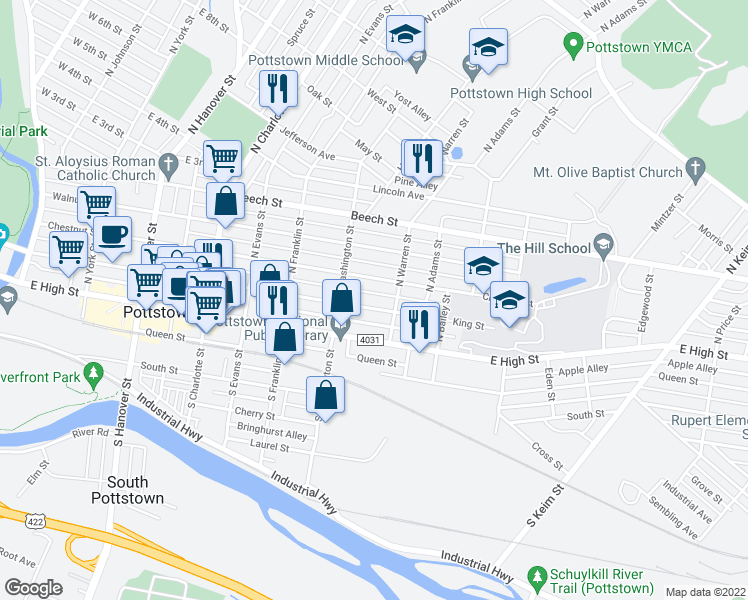 map of restaurants, bars, coffee shops, grocery stores, and more near 535 Chestnut Street in Pottstown