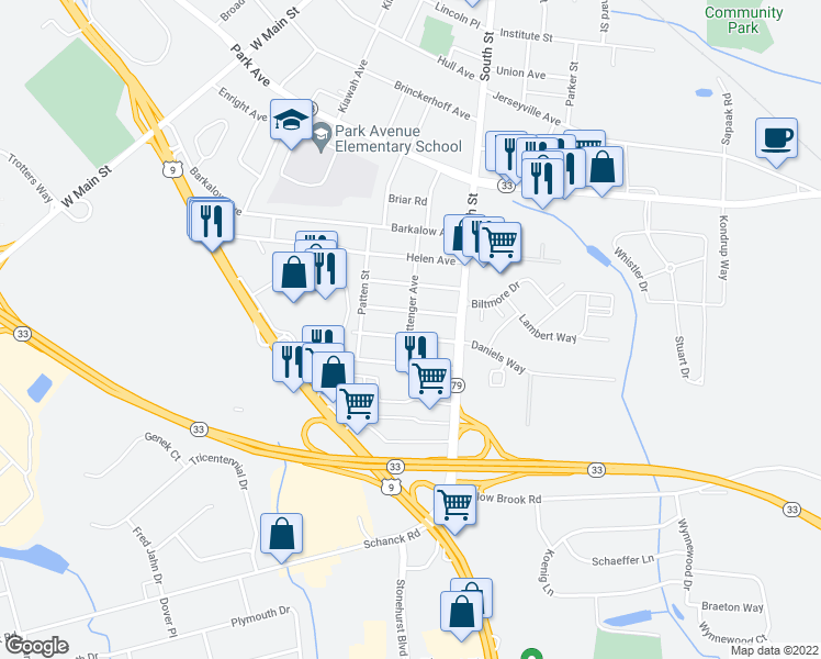 map of restaurants, bars, coffee shops, grocery stores, and more near 45 Irwin Avenue in Freehold