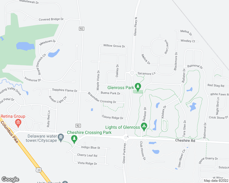 map of restaurants, bars, coffee shops, grocery stores, and more near 549 Buena Park Drive in Delaware