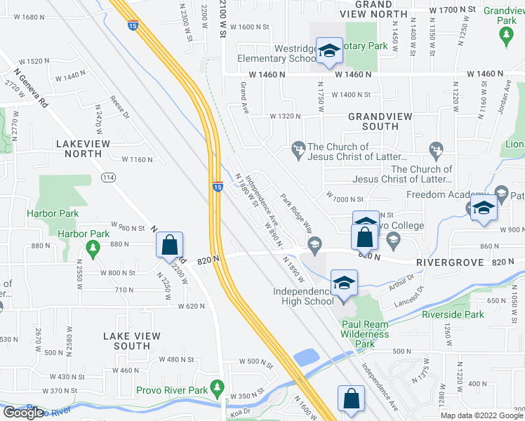 map of restaurants, bars, coffee shops, grocery stores, and more near 1003 Independence Avenue in Provo