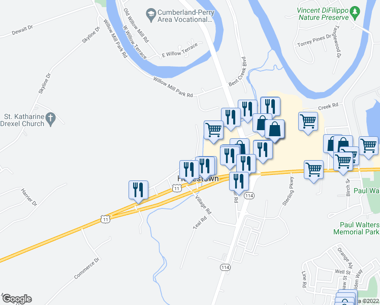 map of restaurants, bars, coffee shops, grocery stores, and more near in Mechanicsburg