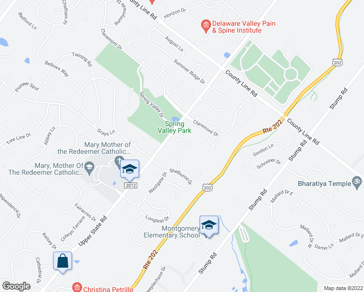 map of restaurants, bars, coffee shops, grocery stores, and more near 401-731 Ascot Court in North Wales