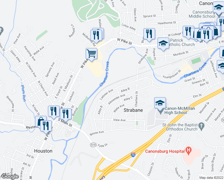 map of restaurants, bars, coffee shops, grocery stores, and more near 186 Alley B in Strabane
