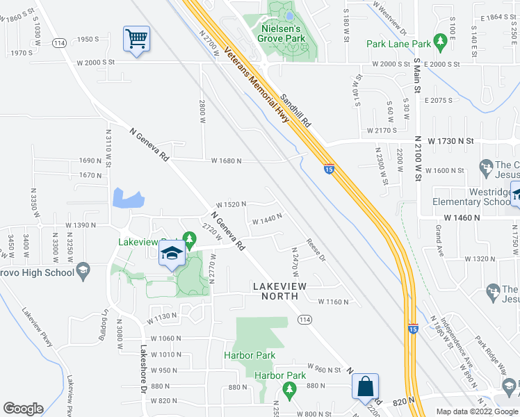 map of restaurants, bars, coffee shops, grocery stores, and more near 2583 West 1520 North in Provo