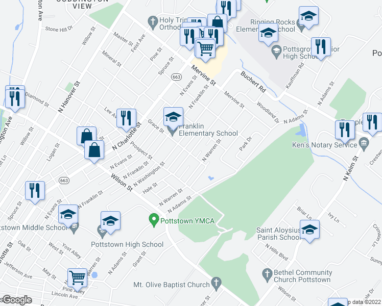 map of restaurants, bars, coffee shops, grocery stores, and more near 958-960 Hale Street in Pottstown
