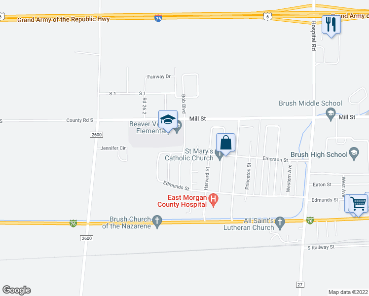 map of restaurants, bars, coffee shops, grocery stores, and more near 417 Glacier Avenue in Brush