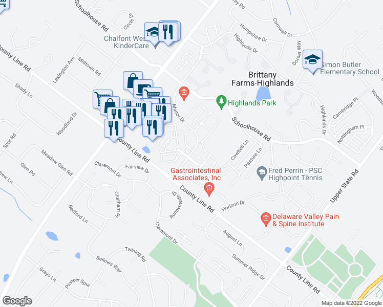 map of restaurants, bars, coffee shops, grocery stores, and more near Manor Drive in Chalfont