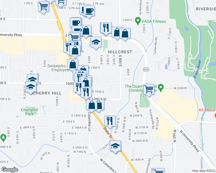 map of restaurants, bars, coffee shops, grocery stores, and more near 730 1600 south in Orem