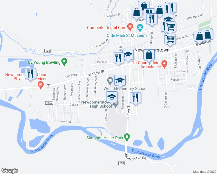 map of restaurants, bars, coffee shops, grocery stores, and more near 337-501 Beaver Street in Newcomerstown