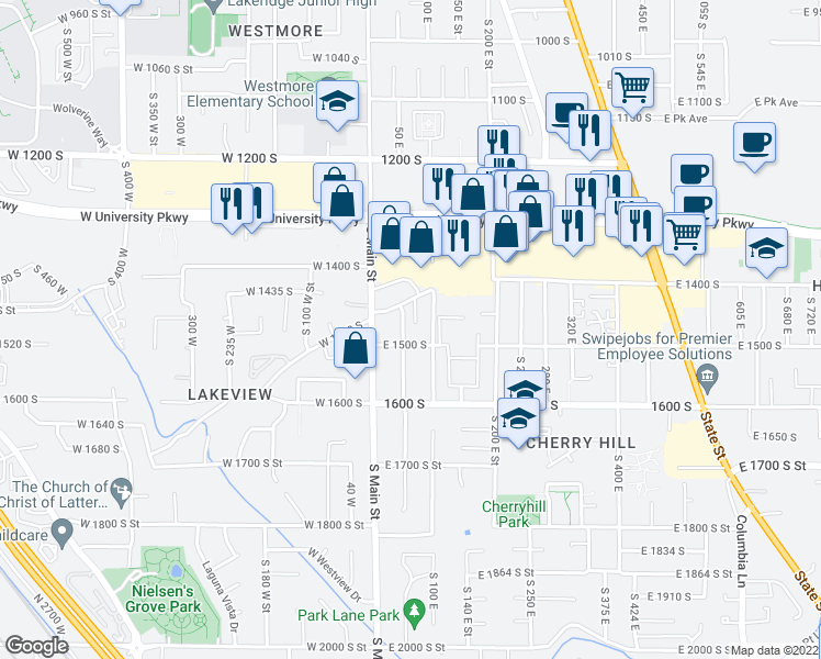 map of restaurants, bars, coffee shops, grocery stores, and more near 1473 South 50 East Street in Orem