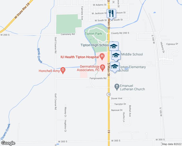 map of restaurants, bars, coffee shops, grocery stores, and more near 300 Fairgrounds Road in Tipton