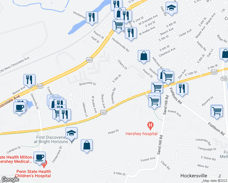 map of restaurants, bars, coffee shops, grocery stores, and more near 1012 Greenlea Road in Hershey