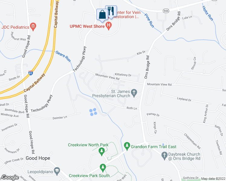 map of restaurants, bars, coffee shops, grocery stores, and more near 4175 Mountain View Road in Mechanicsburg