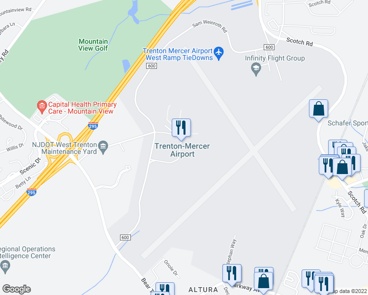 map of restaurants, bars, coffee shops, grocery stores, and more near 1100 Terminal Circle Drive in Ewing Township
