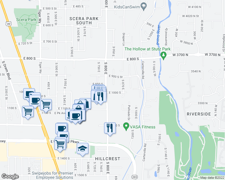 map of restaurants, bars, coffee shops, grocery stores, and more near 845 East 1000 South in Orem