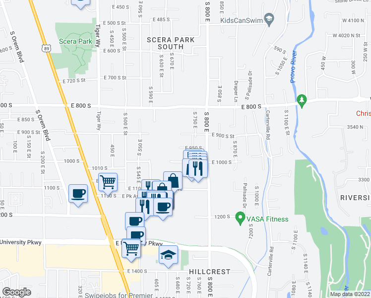 map of restaurants, bars, coffee shops, grocery stores, and more near 730 East 950 South in Orem
