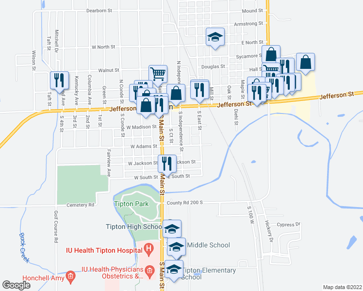 map of restaurants, bars, coffee shops, grocery stores, and more near South Independence Street in Tipton