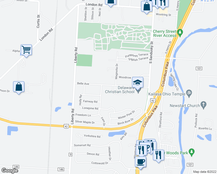 map of restaurants, bars, coffee shops, grocery stores, and more near 165 Belle Avenue in Delaware