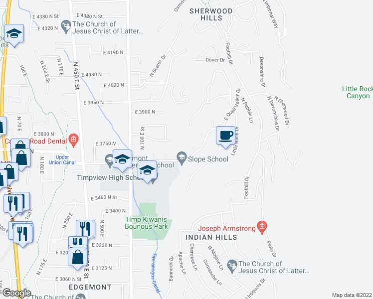 map of restaurants, bars, coffee shops, grocery stores, and more near 3676 North 870 East in Provo
