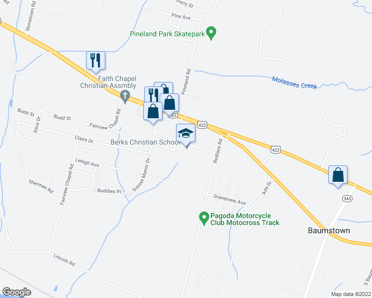 map of restaurants, bars, coffee shops, grocery stores, and more near 926 Philadelphia Terrace in Birdsboro
