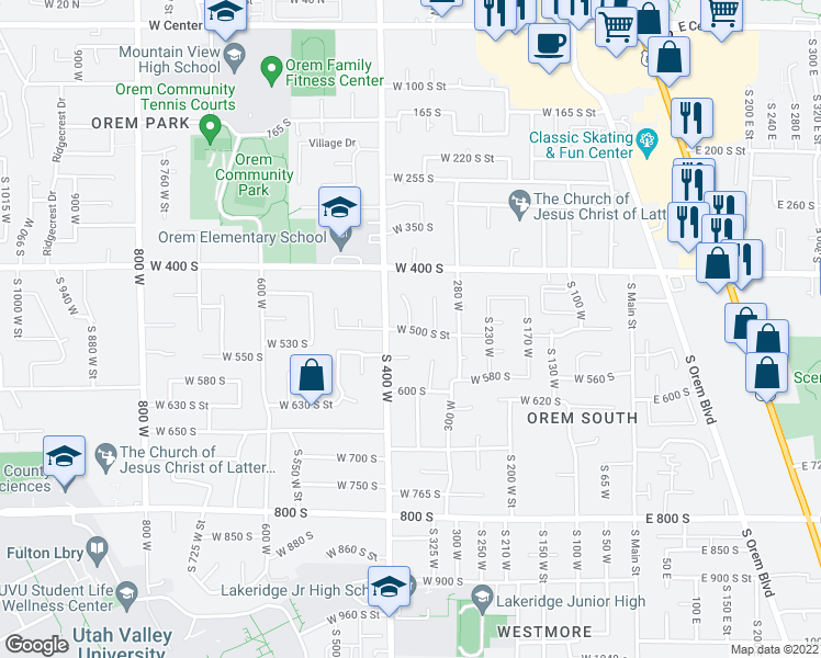 map of restaurants, bars, coffee shops, grocery stores, and more near 615 360 West in Orem