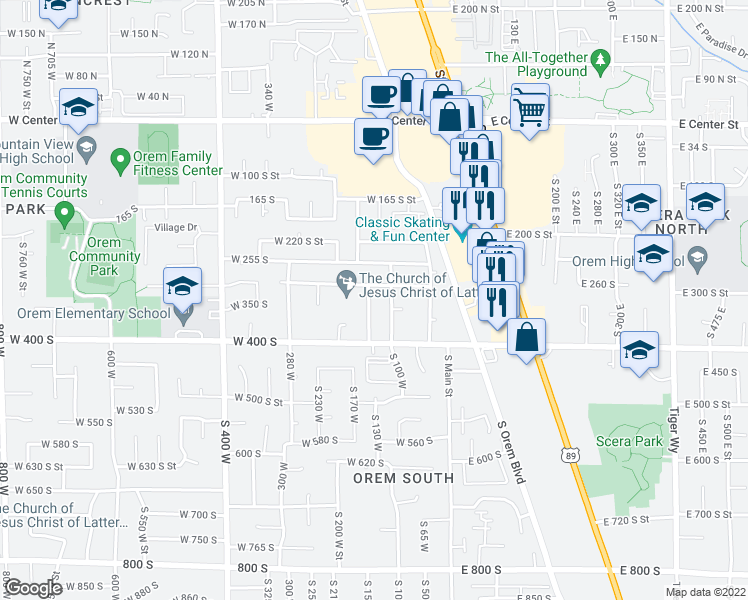 map of restaurants, bars, coffee shops, grocery stores, and more near 331 South 150 West in Orem