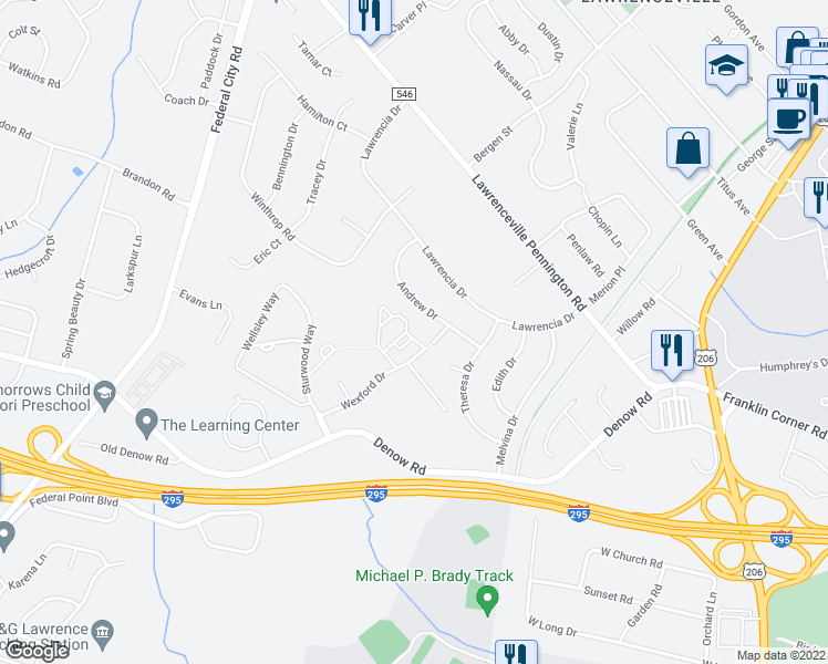 map of restaurants, bars, coffee shops, grocery stores, and more near 2 Catbird Court in Lawrence Township