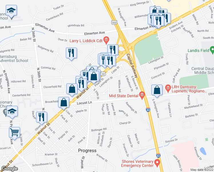 map of restaurants, bars, coffee shops, grocery stores, and more near 116 South Franklin Street in Harrisburg