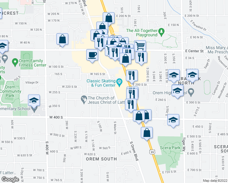 map of restaurants, bars, coffee shops, grocery stores, and more near 256 Orem Boulevard in Orem