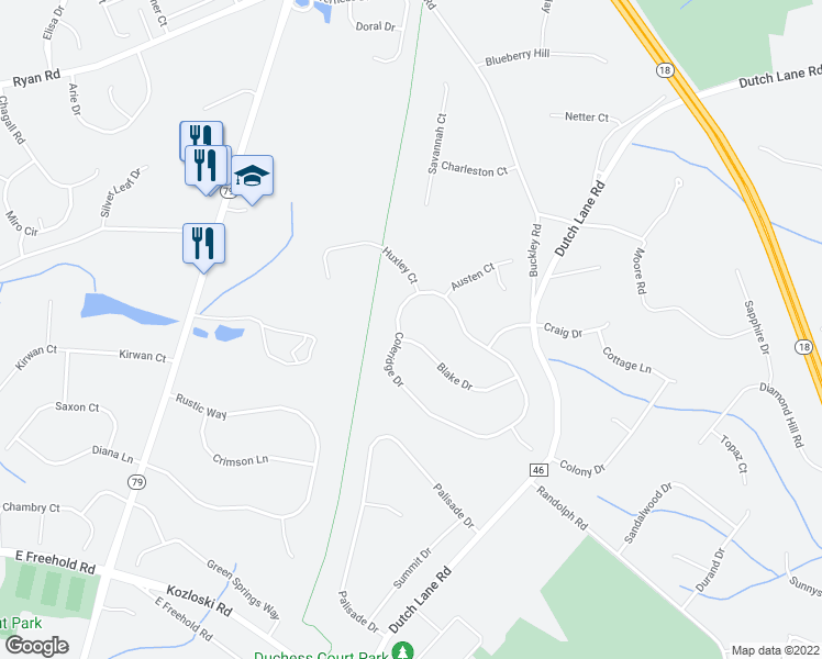 map of restaurants, bars, coffee shops, grocery stores, and more near 14 Blake Drive in Marlboro Township